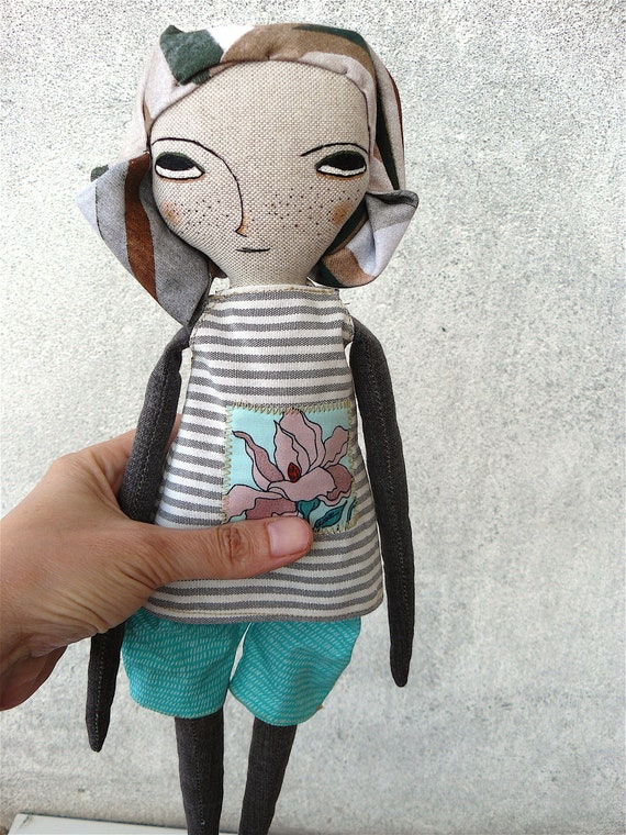 New more stylized model. Art doll in cotton. Fabric hair. 16 inches.