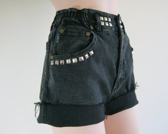 RUFFLED WAIST Custom High Waisted 80's 90's Black Denim Cut Off Jeans Shorts