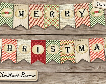 Christmas Banner - Merry Christmas Banner - Holiday Banner - Printable - 6X10 inch