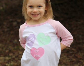 Toddler Valentine's Day Shirt/ Conversation Hearts/ Valentine's Day Gift/ Pink Raglan Shirt/ Toddler Shirt/ Girlie Valentine's Day/ Toddler