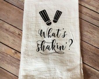 Whats Shakin' dish towel, flour sack dish towel