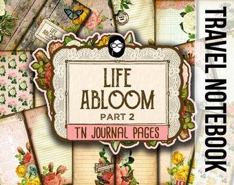 Travelers Notebook - Life Abloom 2 - 11 Printable Midori Insert Pages - travellers notebook, fauxdori insert, junk journal kit, midori print
