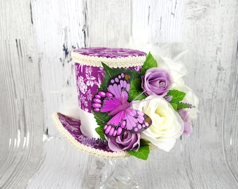 Purple and White Butterfly Rose Flower Garden Large Mini Top Hat Fascinator, Alice in Wonderland, Mad Hatter Tea Party, Derby Hat