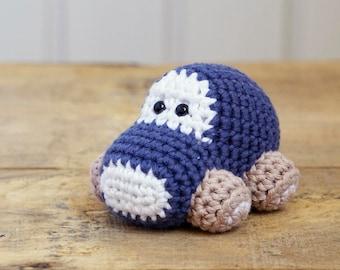 Car baby rattle - organic cotton crochet car - amigurumi car - soft rattle - jeans blue and beige