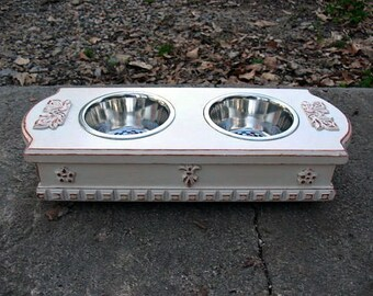 Elevated Dog Bowl or Cat Bowl Pet Feeder Antique White Cottage Chic Distressed, 2 One Pint Stainless Bowls Made to Order