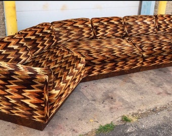 Sold*Do Not Buy*Century Amazing 1970s Zig Zag Upholstered Sectional Sofa