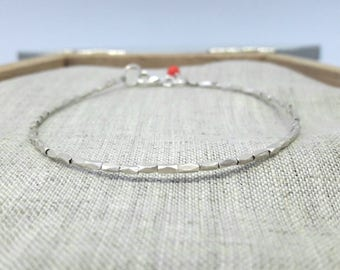 sterling silver bracelet silver beads geometric minimalist lobster claw coral czech crystal bead