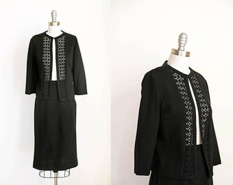 1960s vintage black knit cutout cardigan skirt dress set s