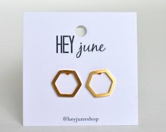 Gold hexagon earrings, hexagon earrings, hexagon stud earrings, silver hexagon earrings,  geometric earrings, bridesmaids gifts