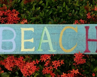 Shabby chic beach sign.