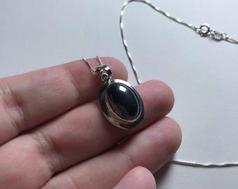 Vintage Hematite Cabochon 925 Sterling Silver Pendant Necklace