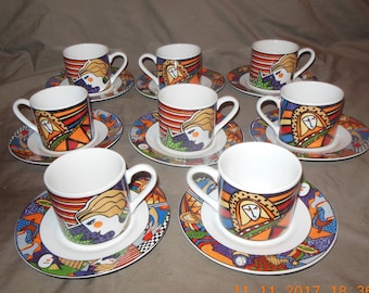set of 8 Vitromaster METROPOLITAN Demitasse cups and saucers Nice design FACES