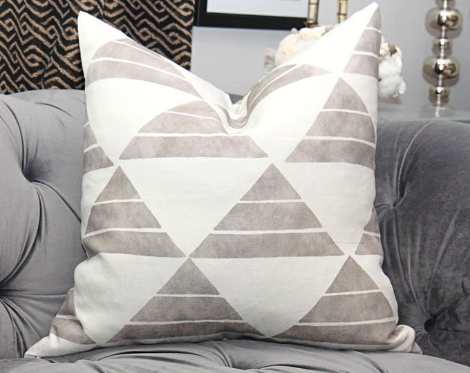 Zak and Fox Designer Uroko Pillow - Khaki Pillow Cover - Geometric Throw Pillow - Modern Pillow  - Neutral Pillow - Tribal