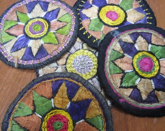 Vintage Colorful Embroidery Embroidered Coasters Set of 5