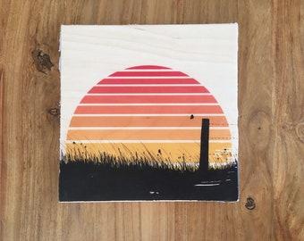 Original Artwork: Prairie Sunset on Plywood