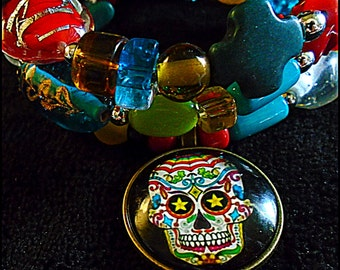 Funky Eclectic Day of the Dead Sugar Skull Bracelet