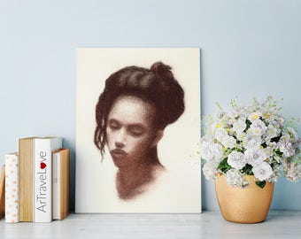 Beautiful Girl Portrait Pastel Art Print