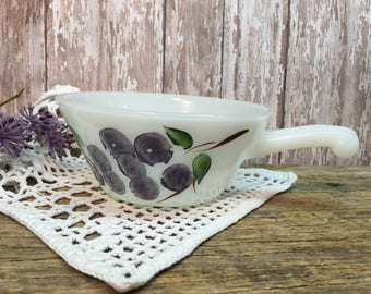 Vintage Fire King Milk Glass Bowl/Handled/Hand Painted Grapes/ Gay Fad
