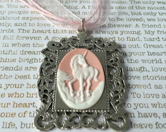 Pink Unicorn Cameo Necklace - White on Pink Prancing Unicorn On a Matching Pink Organza Necklace
