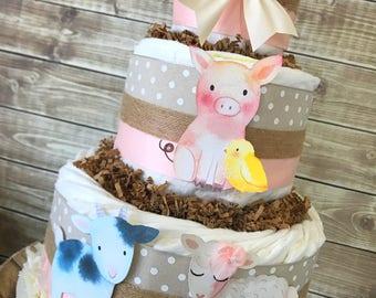 Rustic Farm Friends Diaper Cake, Farm Theme Baby Shower Centerpiece, Farm Decorations