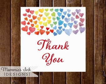 Rainbow Watercolor Hearts Favor Tag, Thank You Tag, Thank You Favor Tags, Painting Party Favor Tag, Watercolor Heart Favor Tag
