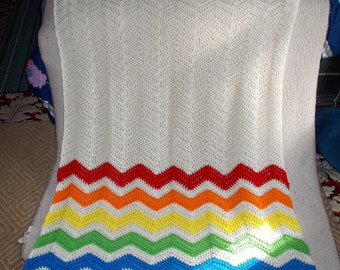 Beyond The Rainbow Ripple Afghan Blanket, Chevron, Ripple, Afghan, Blanket, Throw, Afghan, Rainbow, Ready to Ship,Large size, Rainbow Baby