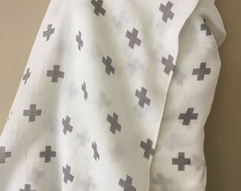 Gray Plus Print on White Cotton Double Gauze Fabric Sold by the Yard Gender Neutral