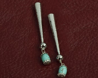 Bolo tip zinc cast , Turquoise drops on ends,  sold package of 2 each