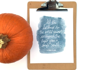 St. Francis of Assisi Quote, Watercolor 8x10 Printable