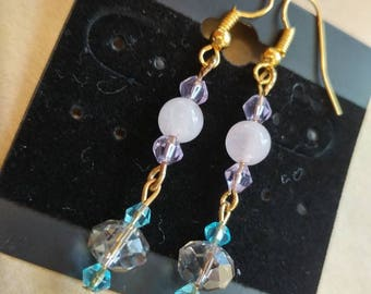 Rose Quartz and Turquoise Bead Drop Earrings