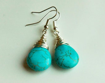 Stunning Wire Wrapped Genuine Blue Turquoise Briolette Bead Earrings - December Birthstone