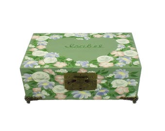 Personalized Pet Memory Box Hand Painted Pet Urn - Heart Shaped Floral Design - Custom Keepsake Box Memorial Box