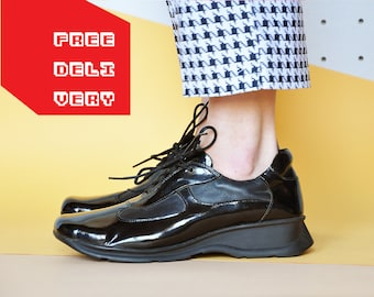 90s PATENT LEATHER sneakers RAVE sneakers platform sneakers club kid sneakers chunky sneakers square toe sneakers Size 10 us 7.5 uk 42 eu