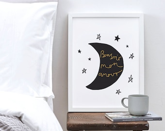 "8x10"" French Love Print - Valentine's Day print - Moon and Stars Print - Nursery Print"