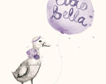 Baby Girl Nursery Art - Ciao Bella 'Hello Beautiful' 8x10 / A4 French Print, Purple Shabby Chic Wall Art Decor Watercolour of Duckling