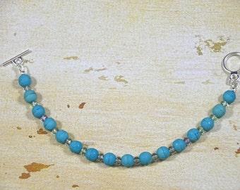 Summer, Beach, Turquoise Stone-Finished Czech Glass Bracelet