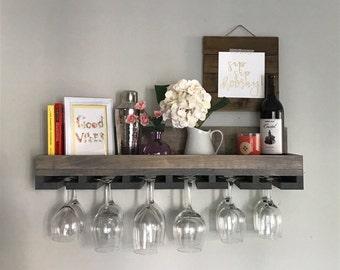 "30"" Rustic Wood Wine Rack | Shelf & Hanging Stemware Glass Holder Organizer Bar Unique Baking Containers, Spice Rack, Kitchen Accessories Gr"