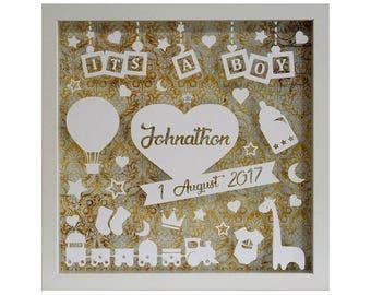 Its a Boy - Personalised White Shadow Box Frame - Newborn Gift