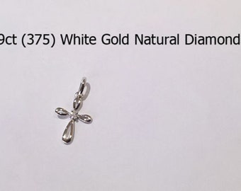 9ct 375 White Gold Natural Old Round Cut Diamond Crucifix Cross Pendant