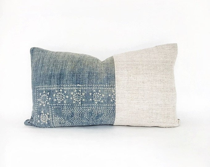 Antique Chinese Indigo Batik And Vintage French Linen Lumbar Pillow Cover 14x24