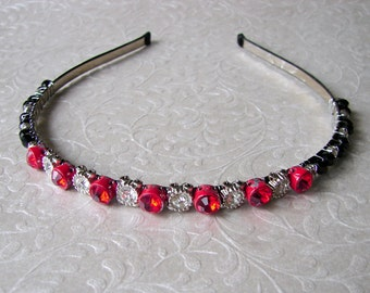 SAMPLE SALE Red Rhinestone Black Crystal Jeweled Headband Vintage Jewelry Hairpiece Renaissance Costume Accessory Chic Reign Wedding Reduced