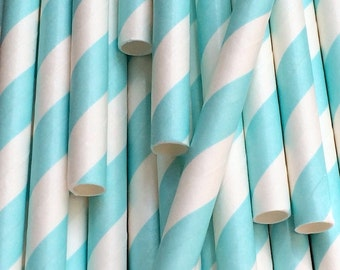 Blue Diagonal Stripe Paper Straws - Cocktail Drinking Straws - Cake Pop Sticks Tableware Party Supplies