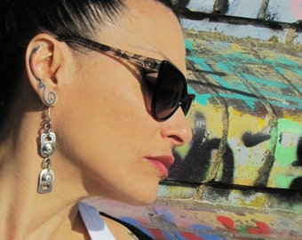 Recycled ring pull long dangle Earrings