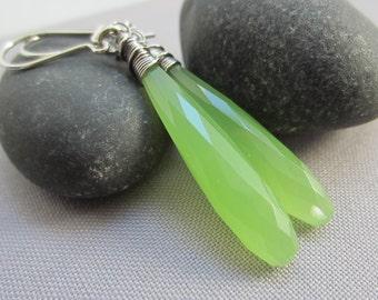 Sterling Silver Wire Earrings/ Apple green gemstone earrings/ Prehnite Green Quartz Earrings/Artisan Earrings/ Quartz Earrings