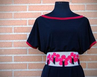 Red Obi, Asian Inspired , Studs Belt,  Japanese, Wide Belt, Womans Fashion, Flower Applique, Fabric Belt
