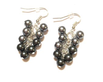 Earrings. Cluster. Gray and Silver colored Pearl Beads. 9 beads on Silver Ear Wires.
