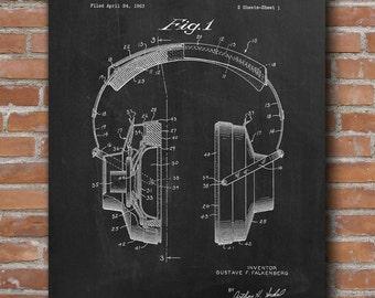 Headphones Patent Print, Headphone Patent, Headphone Poster, Home Theater Decor, Patent Print - DA0598