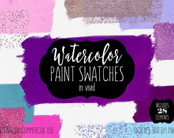 PINK WATERCOLOR BRUSH Strokes Clipart Commercial Use Clip Art 28 Watercolor Paint Swatch Textures Teal Purple Confetti Shop Logo Graphics