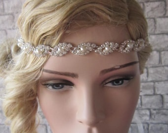 Bridal headpiece/ Wedding headpiece, Wedding Tiara, Rhinestoneand peaerl bridal headband, Crystal headband