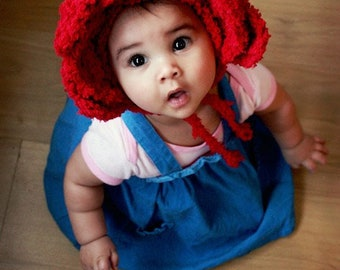 0 to 3m Newborn Rose Flower Hat Baby Girl Flower Bonnet Shower Gift Red Hood Valentine Rose Elf Baby Hat Rose Photo Prop Costume Baby Gift